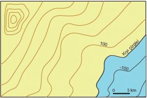 Şekil 1.4.5 Bir izohips haritası