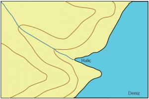Şekil 1.4.9 Haliç akarsuyun denize döküldüğü yerde girinti olarak gösterilir.