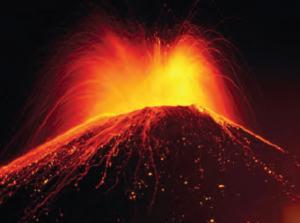 Fotoğraf 4.2 Volkanik patlamayla katı, sıvı ve gaz maddeler çıkmaktadır.