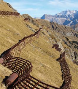 Fotoğraf 4.35 Eğimli yamaçlarda setler oluşturmak, çığı önleme çalışmalarındandır (İsviçre).