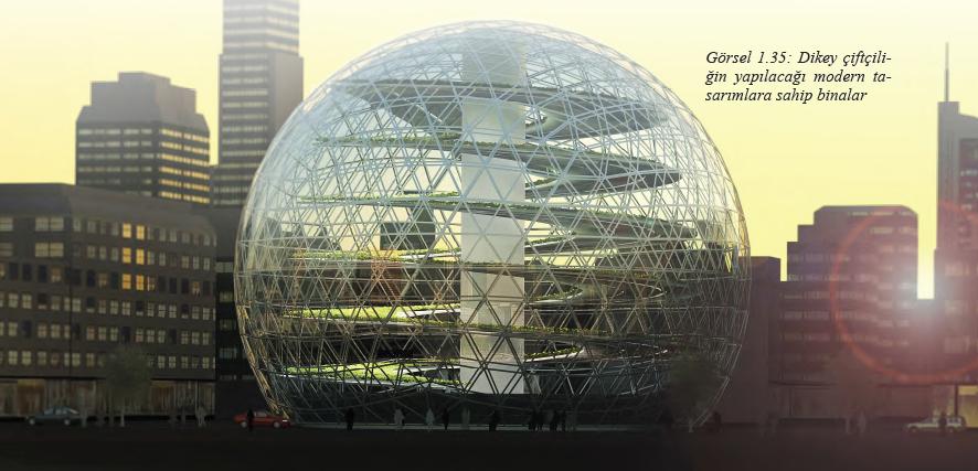 Görsel 1.35 Dikey çiftçiliğin yapılacağı modern tasarımlara sahip binalar