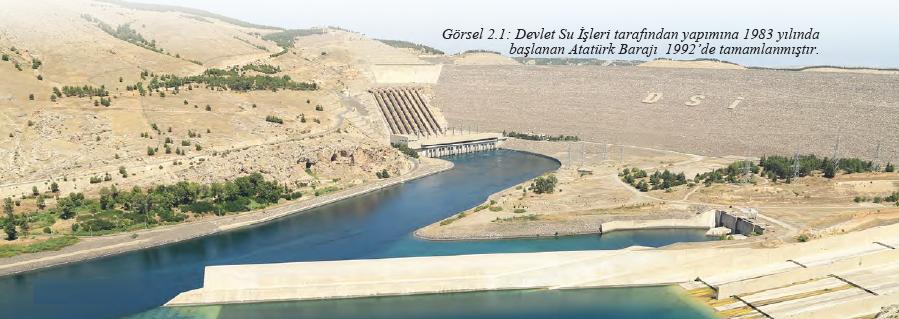 Görsel 2.1 Devlet Su İşleri tarafından yapımına 1983 yılında başlanan Atatürk Barajı 1992'de tamamlanmıştır.