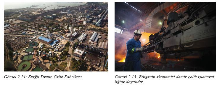 Görsel 2.14 Ereğli Demir-Çelik Fabrikası - Görsel 2.15 Bölgenin ekonomisi demir-çelik işletmeciliğine dayalıdır.
