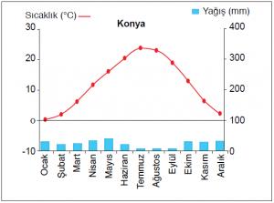 Grafik 1.5.18 Ilıman karasal iklimde sıcaklık ve yağışın aylara dağılımı