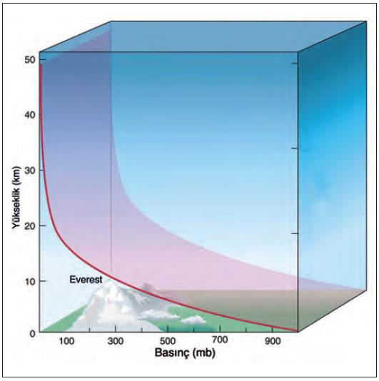 Grafik 1.5.3 Yüksekliğe göre basınç değişimi (airs.jpl.nasa.gov)
