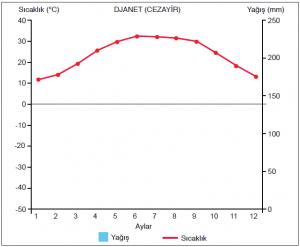 Grafik 1.5.8 Çöl ikliminde sıcaklık ve yağış (worldweather.wmo.int)