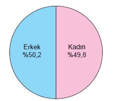 Grafik 2.8 Nüfusun cinsiyete göre dağılımı (2017)