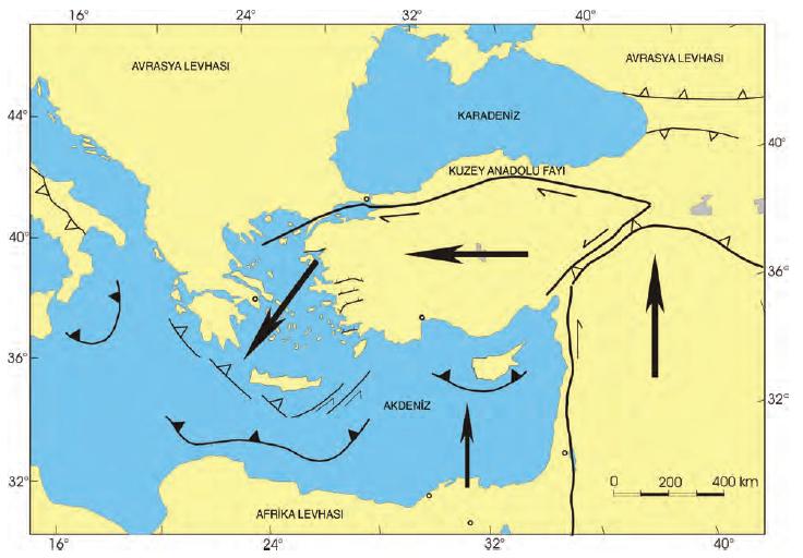 Harita 1.2 Türkiye; Arabistan, Afrika ve Avrasya levhaları arasında yer alır.