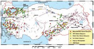 Harita 1.3 Türkiye'deki aktif fay hatları ve bu alanlardaki gözlem istasyonları (www.ydbe.mam.gov.tr)