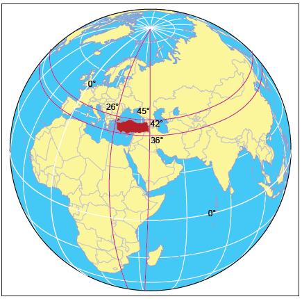 Harita 1.3.4 Türkiye'nin mutlak konumu