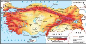 Harita 1.4.7 Türkiye deprem bölgeleri haritasında alansal, çizgisel ve noktasal işaretler (deprem.afad.gov.tr)