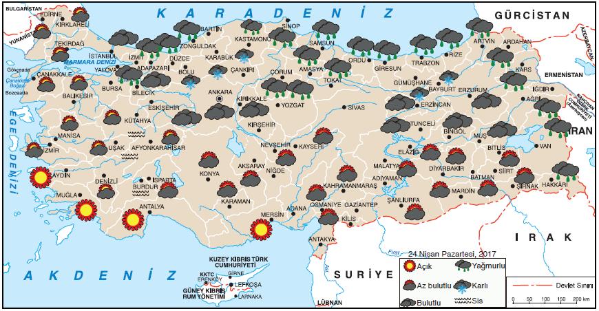 Harita 1.5.1 Türkiye'de bir günlük hava durumu raporu (www.mgm.gov.tr)