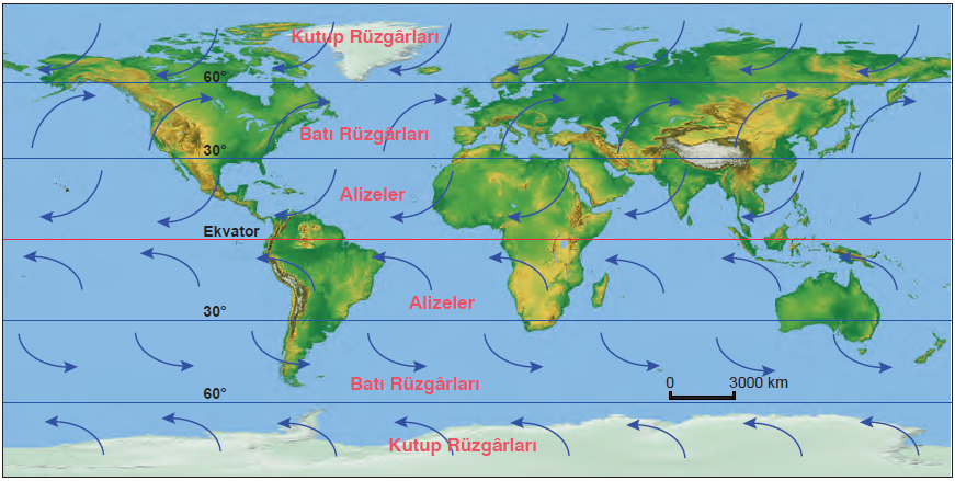 Harita 1.5.10 Sürekli rüzgârlar