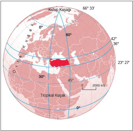 Harita 1.5.15 Türkiye, orta kuşakta yer almaktadır.