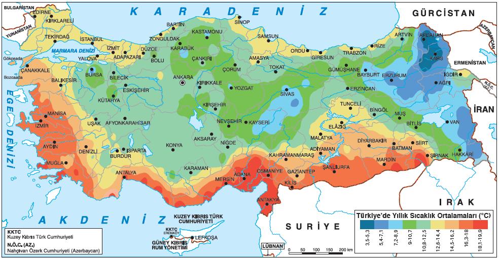 Harita 1.5.19 Türkiye'de yıllık sıcaklık ortalaması (www.mgm.gov.tr)