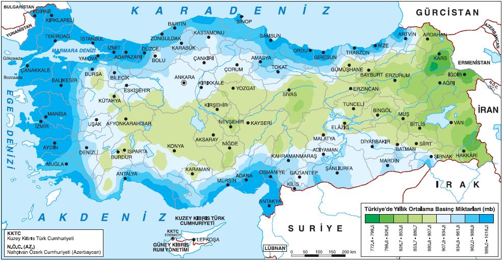 Harita 1.5.22 Türkiye'de basınç dağılışı (www.mgm.gov.tr)