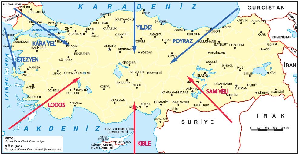 Harita 1.5.23 Türkiye'de etkili olan başlıca yerel rüzgârlar