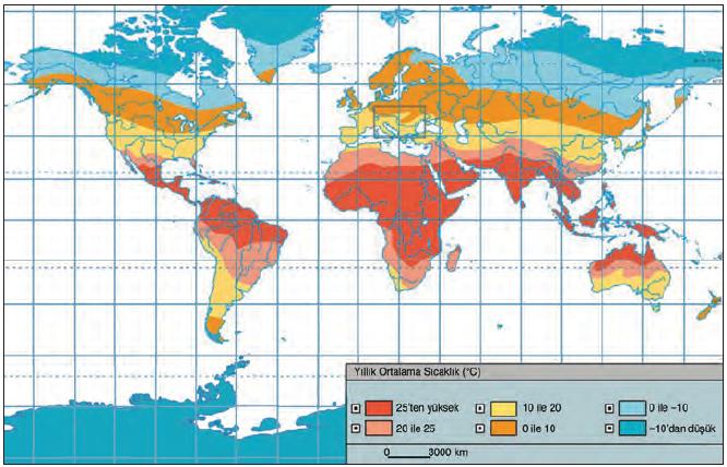 Harita 1.5.4 Yeryüzünde yıllık ortalama sıcaklık dağılışı (climatedataguide.ucar.edu)
