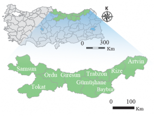 Harita 2. 6 Doğu Karadeniz Projesi kapsamındaki iller