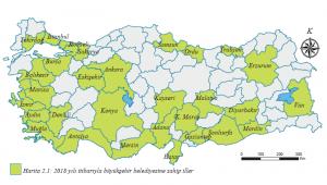 Harita 2.1 - 2018 yılı itibarıyla büyükşehir belediyesine sahip iller