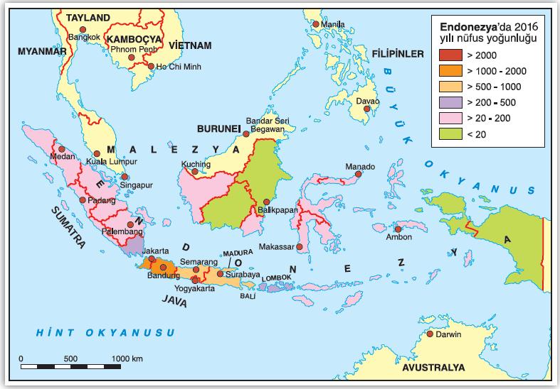 Harita 2.1 Endonezya'da nüfus dağılışı