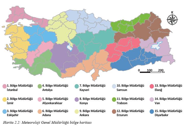 Harita 2.2 Meteoroloji Genel Müdürlüğü bölge haritası