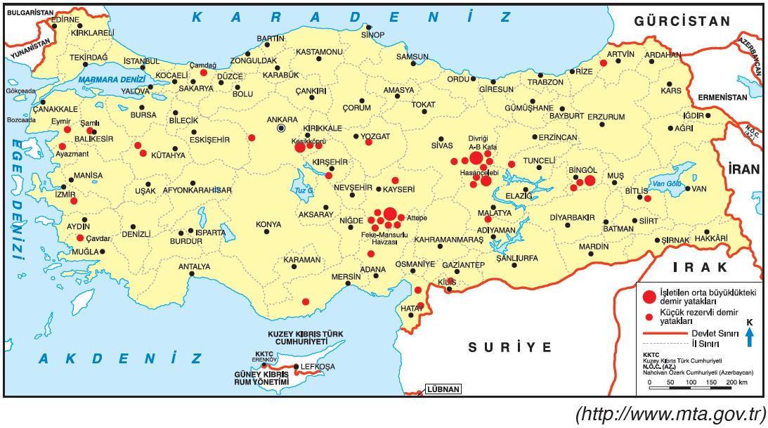Harita 2.28 Demir yataklarının bulunduğu başlıca yerler
