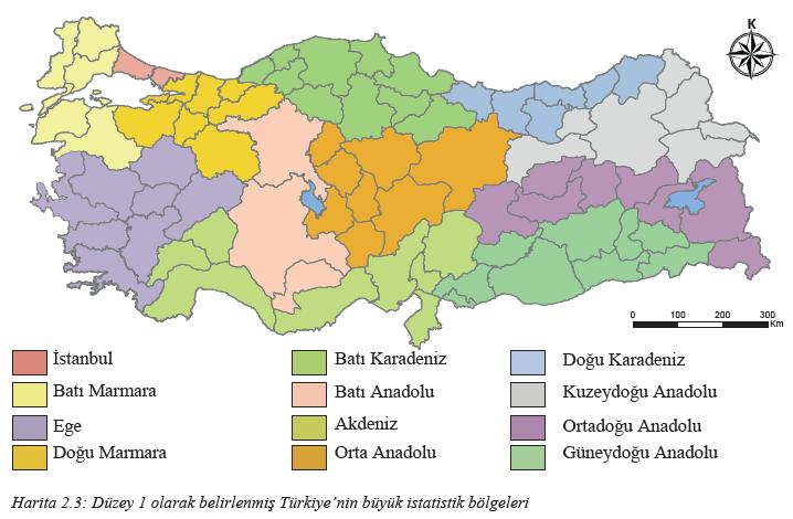 Harita 2.3 Düzey 1 olarak belirlenmiş Türkiye'nin büyük istatistik bölgeleri