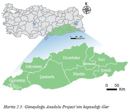 Harita 2.5 Güneydoğu Anadolu Projesi'nin kapsadığı iller