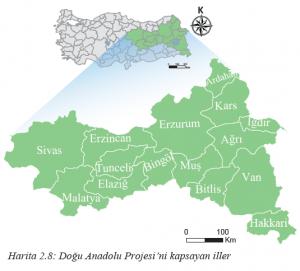 Harita 2.8 Doğu Anadolu Projesi'ni kapsayan iller