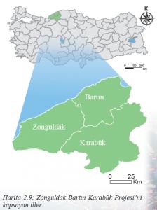 Harita 2.9 Zonguldak Bartın Karabük Projesi'ni kapsayan iller