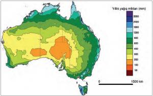 Harita 3.1 Avustralya'da yağış bölgeleri (www.metvis.com.au)