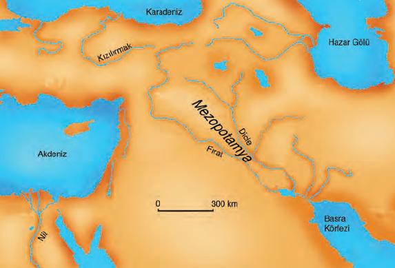 Harita 3.2 İlk uygarlıkların yaşadığı bölgelerden biri Mezopotamya'dır.