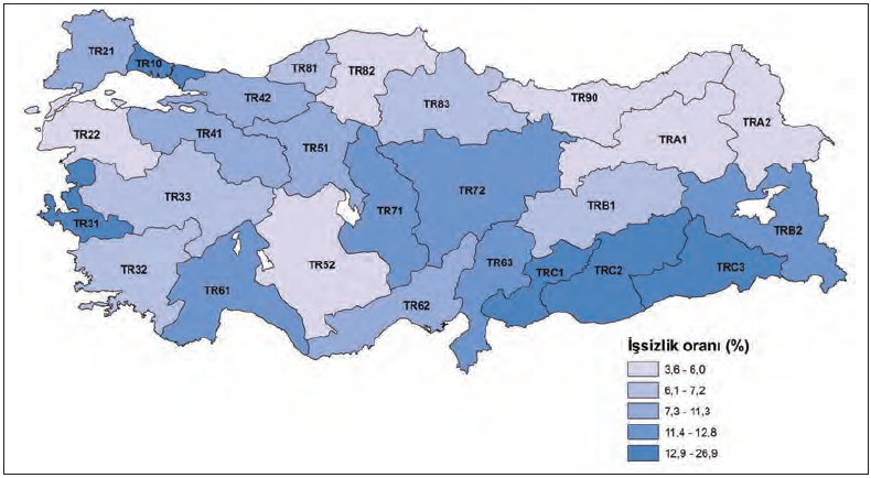 Harita 3.4 TÜİK'in oluşturduğu işlevsel bölge örneklerinden biri
