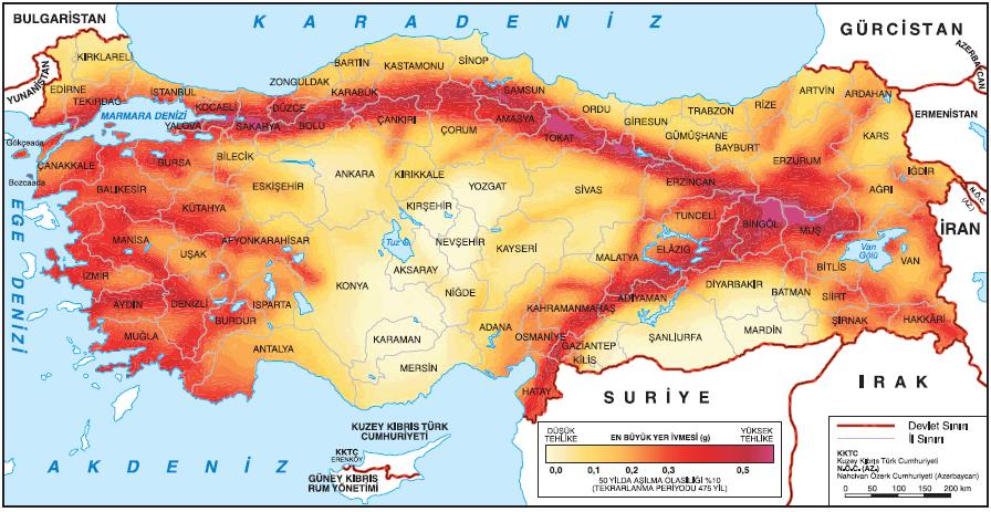 Harita 4.5 Türkiye'nin deprem bölgeleri (deprem.afad.gov.tr)