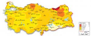 Harita 4.7 Türkiye'de heyelan yoğunluğu
