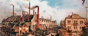 Resim 3.7 Almanya'da sanayinin ilk geliştiği dönemlerde demir yolu araçları üreten bir fabrika